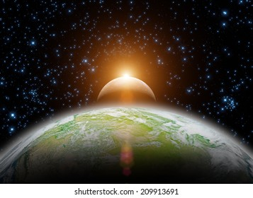 Space sunrise, good morning world! Elements of this image furnished by NASA.