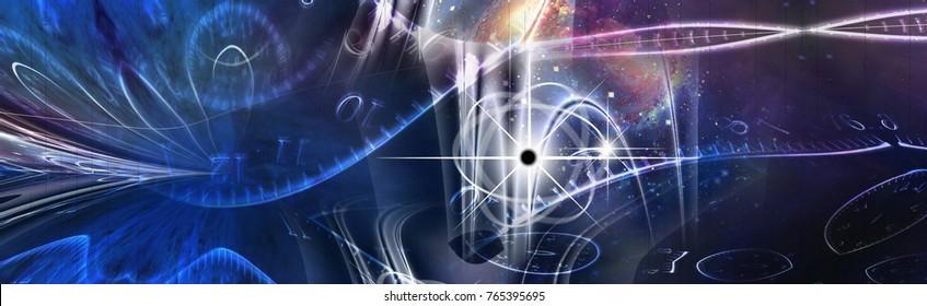 Space Time Illustration. 3D rendering.