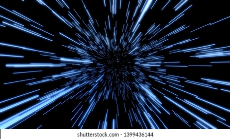 Space Travelling in the Speed of Light.  Abstract light, fibre-optic. Super speed. Particle or space traveling. Particle zoom background.