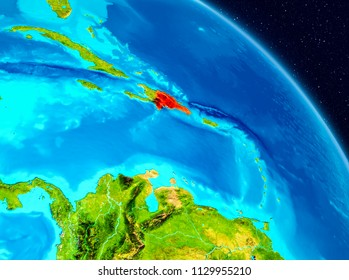 Space view of Dominican Republic highlighted in red on planet Earth. 3D illustration. Elements of this image furnished by NASA.