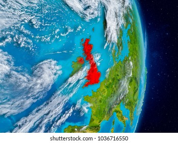 Space view of United Kingdom highlighted in red on planet Earth with atmosphere. 3D illustration. Elements of this image furnished by NASA.