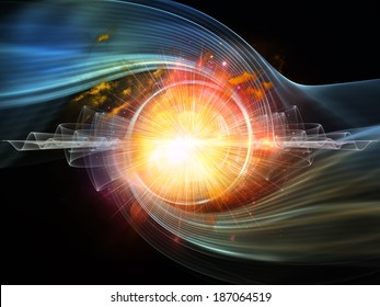 Space Vortex series. Artistic background made of translucent vortex, fractal elements, lights and textures for use with projects on science, technology and design