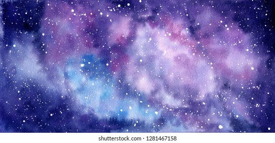 Space watercolor hand painted background. Abstract galaxy painting. Watercolor Cosmic texture with stars. Night sky