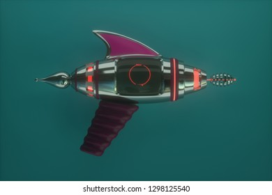 space weapons, raygun, blaster. 3D illustration