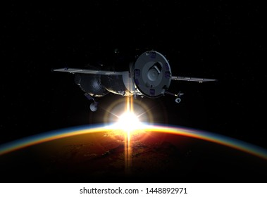 Spacecraft at the Earth orbit. 3d rendering background. 3D illustration