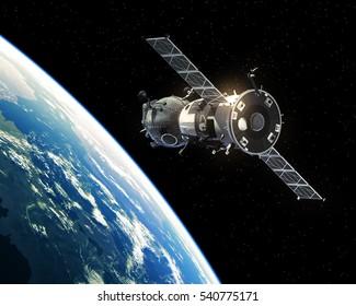 Spacecraft Orbiting Earth. 3D Illustration.