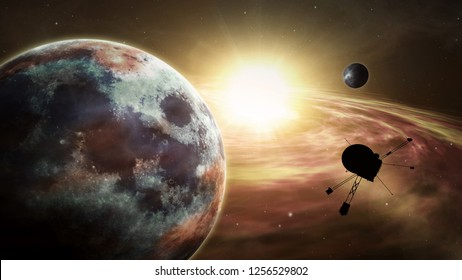 Spacecraft orbiting and explore distant solar system and exoplanets. Realistic deep cosmos satellite travel light-years from earth 3D illustration.