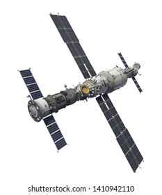 Spacecrafts And Space Station Isolated On White Background. 3D Illustration.