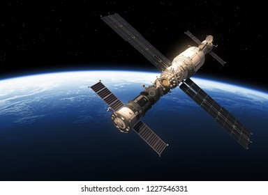 Spacecrafts And Space Station Orbiting Earth. 3D Illustration.