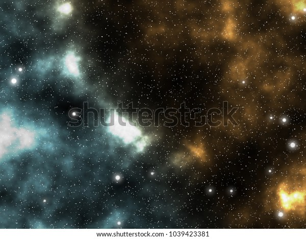 Spacescape galaxy astronomical illustration graphic design background with nebulae and glowing stars in the universe.