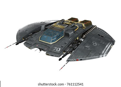 spaceship 3d illustration
