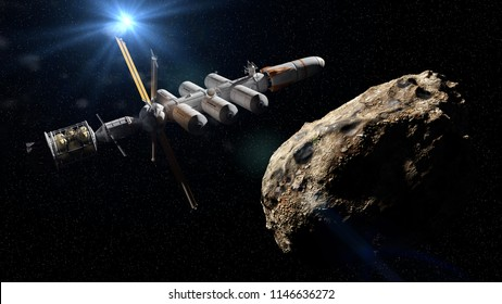 spaceship approaching asteroid, dwarf planet mission, deep space exploration (3d science fiction illustration)