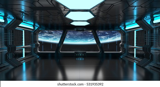 Spaceship blue interior with view on space and planet Earth 3D rendering elements of this image furnished by NASA