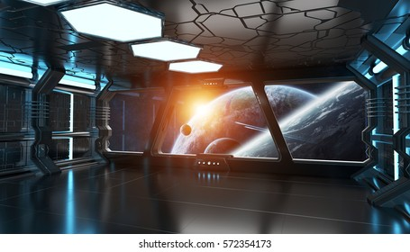 Spaceship blue interior with view on space and distant planets system 3D rendering elements of this image furnished by NASA