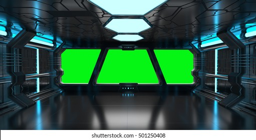 Spaceship blue interior with window view with green background 3D rendering