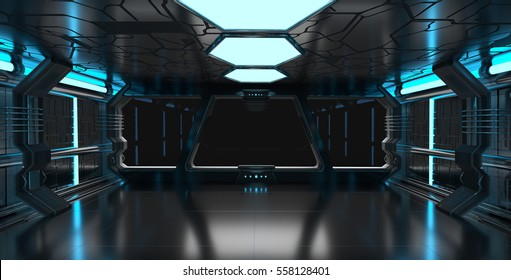Spaceship blue interior with window view with black background 3D rendering elements of this image furnished by NASA