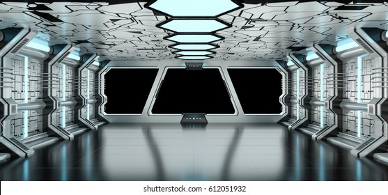 Spaceship blue and white interior with black window view 3D rendering