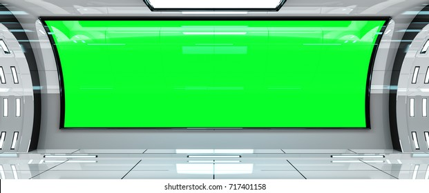 Spaceship bright interior with green window view 3D rendering