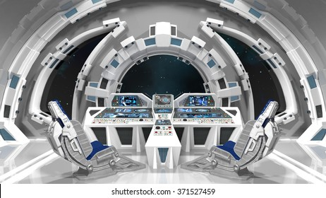 Spaceship. Command room. White interior. 3D illustration.
