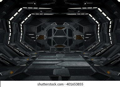 Spaceship Condor interior . 3D illustration.