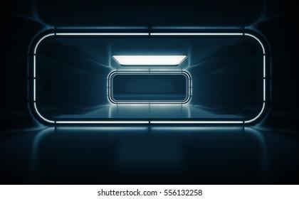 Spaceship corridor. Futuristic tunnel with light, interior view. Future background, business, sci-fi or science concept