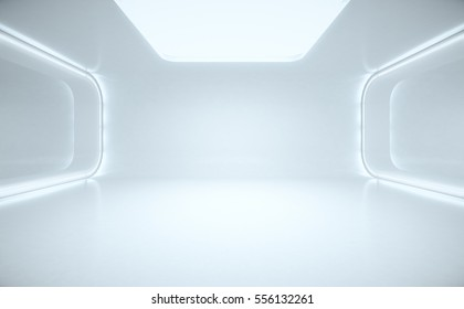 Spaceship corridor. Futuristic tunnel with light, interior view. Future background, business, sci-fi or science concept