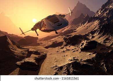 Spaceship crashed on the beach.3d render