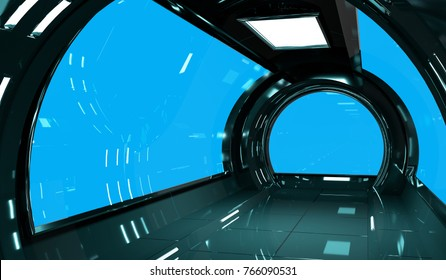Spaceship dark interior with blue window view 3D rendering