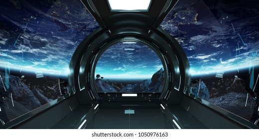 Spaceship dark interior with view on planet Earth 3D rendering elements of this image furnished by NASA