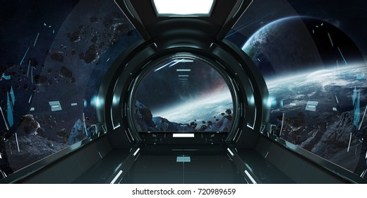 Spaceship dark interior with view on distant planets system 3D rendering elements of this image furnished by NASA