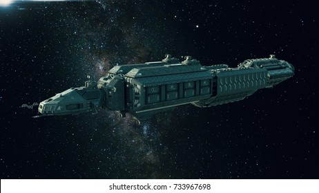 Spaceship in deep space, spacecraft flying through the universe with a bright star in distance, side view, 3D illustration
