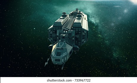 Spaceship in deep space, spacecraft flying through the universe with a bright star in distance, front view, 3D illustration