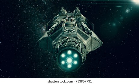 Spaceship in deep space, spacecraft flying through the universe with a bright star in distance, rear view, 3D illustration