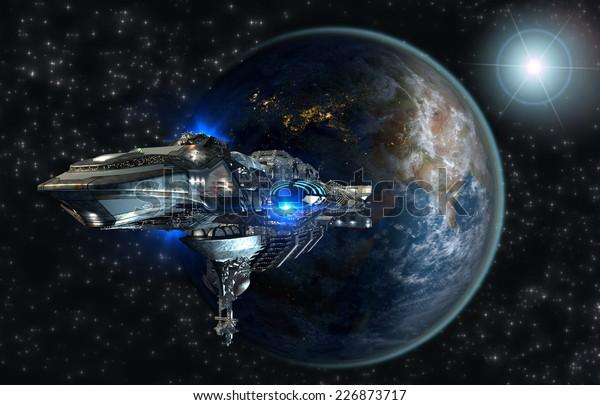 Die Raumschiff-Flotte verlässt die Erde als 3D-Konzept für futuristische interstellare Weltraumreisen für Science-Fiction-Hintergründe. Elemente dieses von der NASA bereitgestellten Bildes.