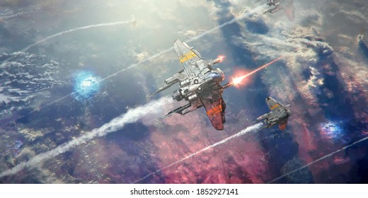 A spaceship flying above the sea of cloud of a planet, shooting lasers in a battle. A few other ships fly in formation below.