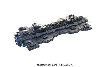 Raumschiff-Fliegen, außerirdisches UFO-Raumfahrzeug einzeln auf weißem Hintergrund, Draufsicht, 3D-Rendering