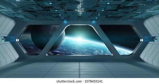 Spaceship futuristic grey blue interior with view on planet Earth 3D rendering elements of this image furnished by NASA
