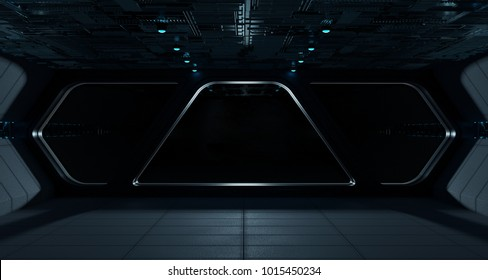 Spaceship futuristic interior with isolated black window view