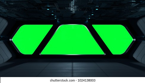 Spaceship futuristic interior with isolated green window view