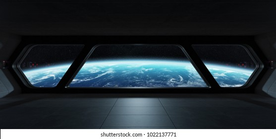 Spaceship futuristic interior with view on planet Earth 3D rendering elements of this image furnished by NASA