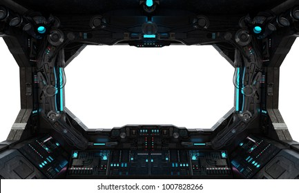 Spaceship grunge interior with view on a isolated white window