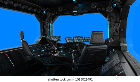 Spaceship grunge interior with view on a isolated blue window