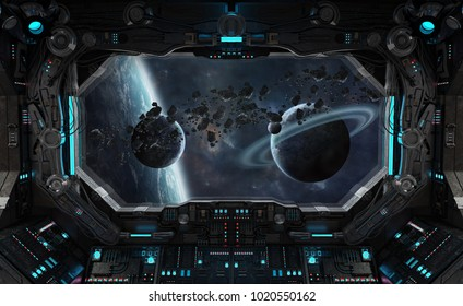Spaceship grunge interior with view on exoplanet 3D rendering elements of this image furnished by NASA