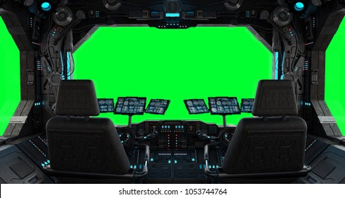 Spaceship grunge interior with view on a isolated green window