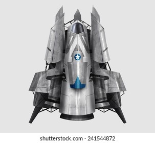 Spaceship illustration. Isolated futuristic fantasy steel spaceship illustration art.