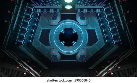 Spaceship Interior. 3D illustration.