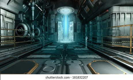 Spaceship interior with a futuristic machine
