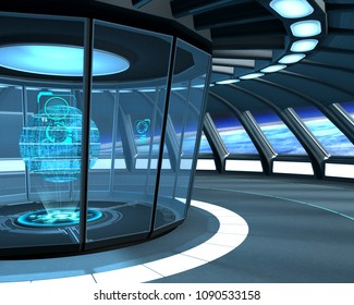 Spaceship interior with holographic globe and user interface. 3D rendering.