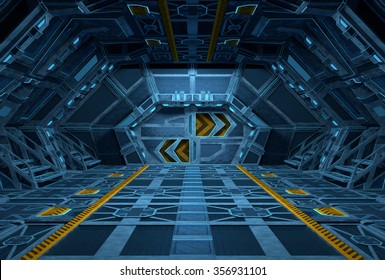 Spaceship Interior. Inside of Space Station. 3D illustration.