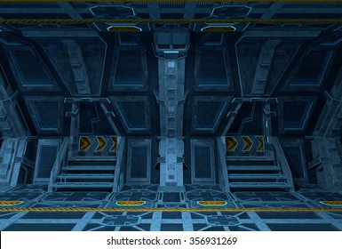 Spaceship Interior. Inside of space station design. 3D illustration.